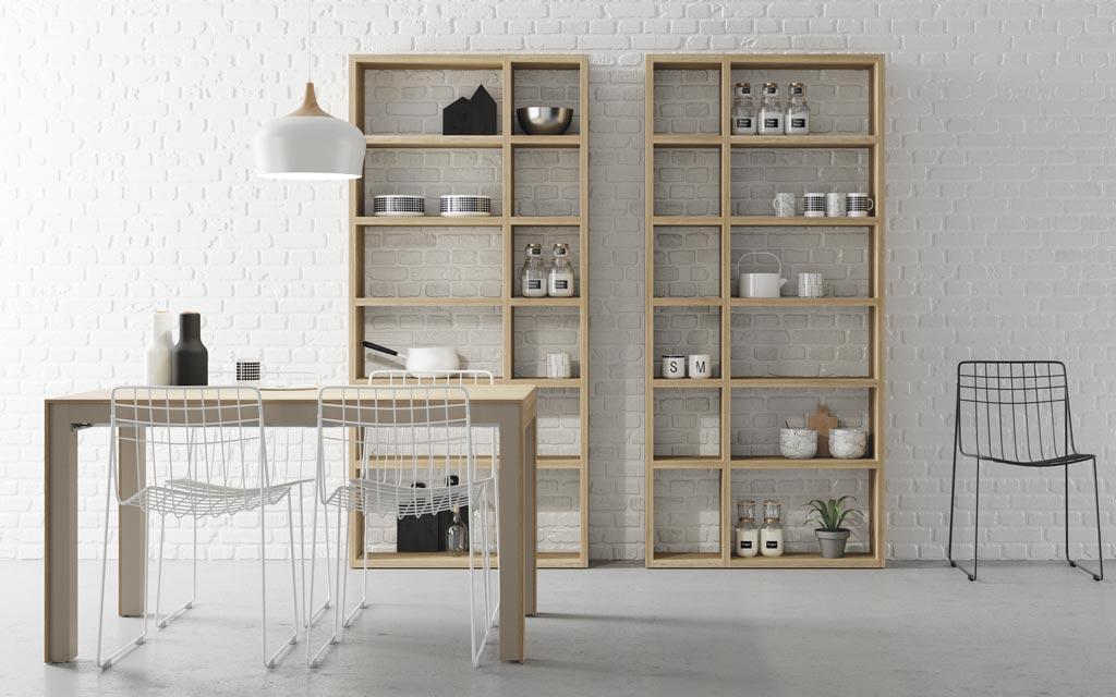 mesa-comedor-cocina-estanterias-lagrama - Muebles Passe Avant